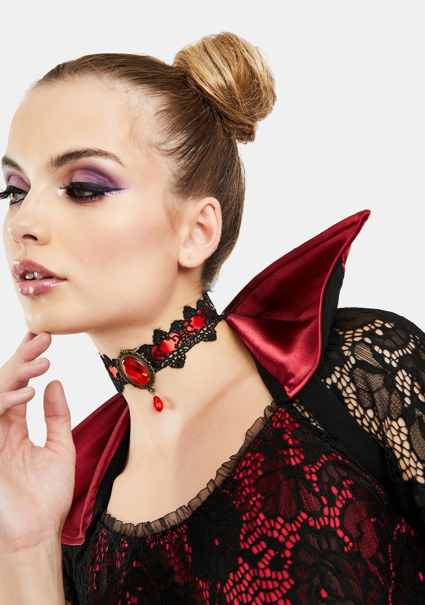 Countess Dracula Lace Rhinestone Choker