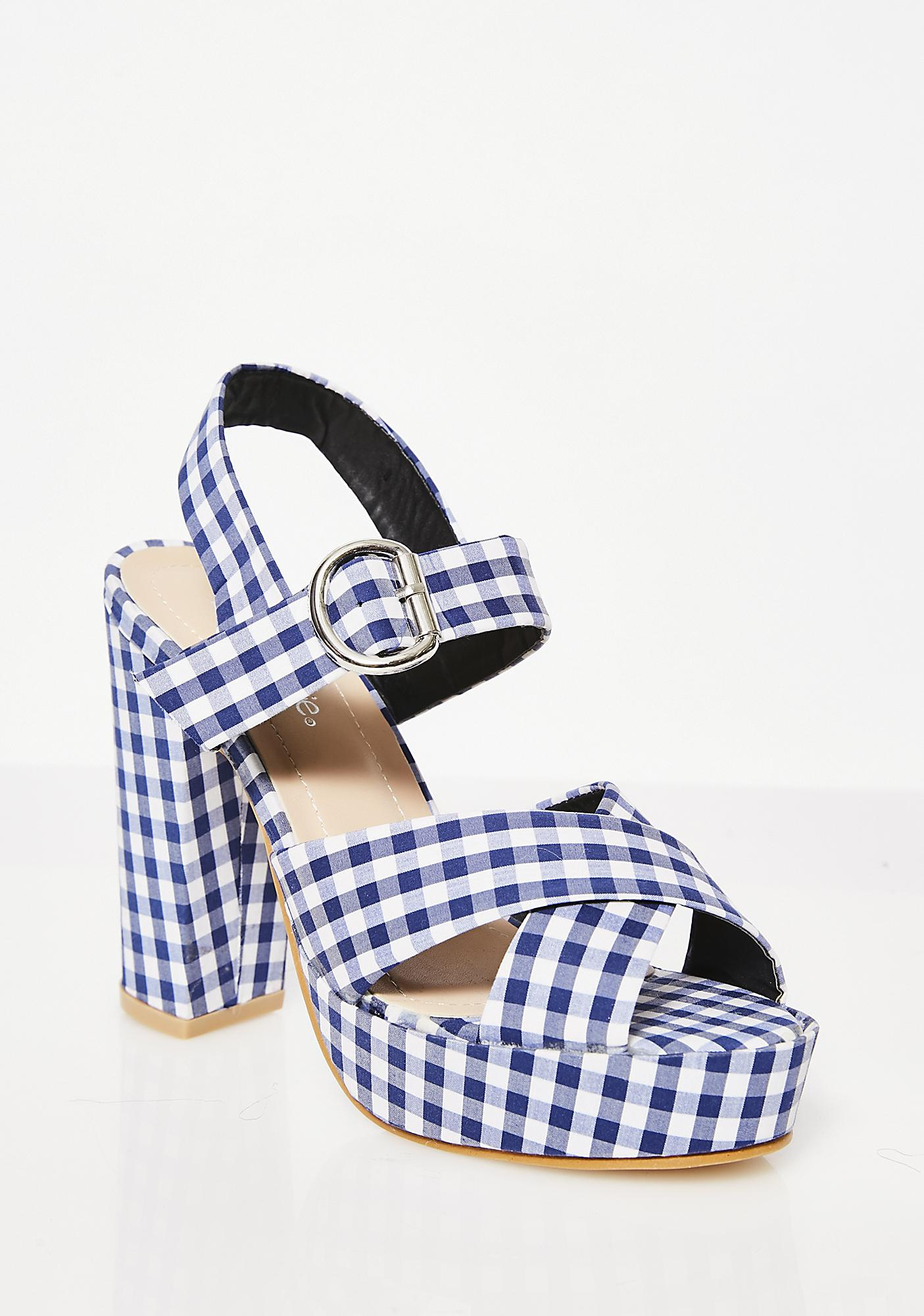 Blueberry So Seductive Gingham Heels