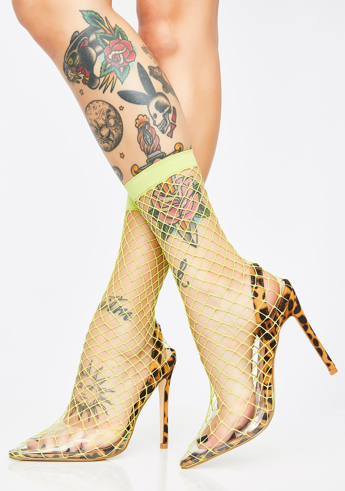 The Hott Friend Fishnet Heels
