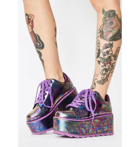 Y.R.U. Purple Slick Lala Alien Platform Sneakers