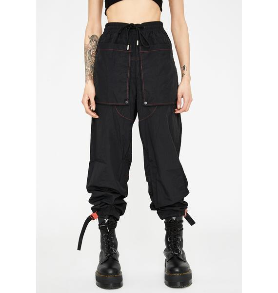 Jaded London Black Nylon Joggers With Red Stitching Detail