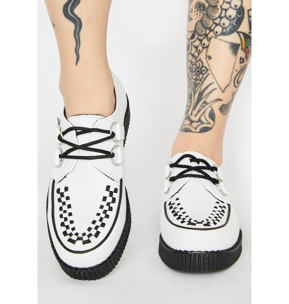 T.U.K. White Viva II Lace Up Creepers