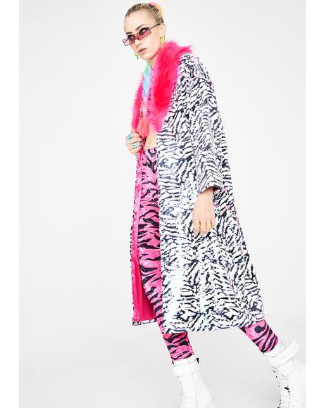 Le Freak Zebra Reversible Sequin Kimono