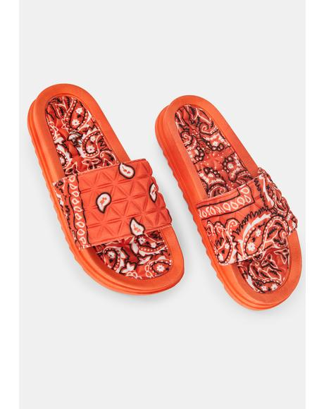 Pumpkin On The Ranch Slide Sandals