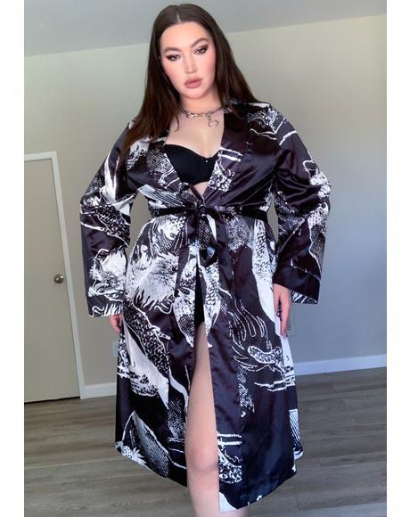 Miss Never Play Nice Printed Kimono