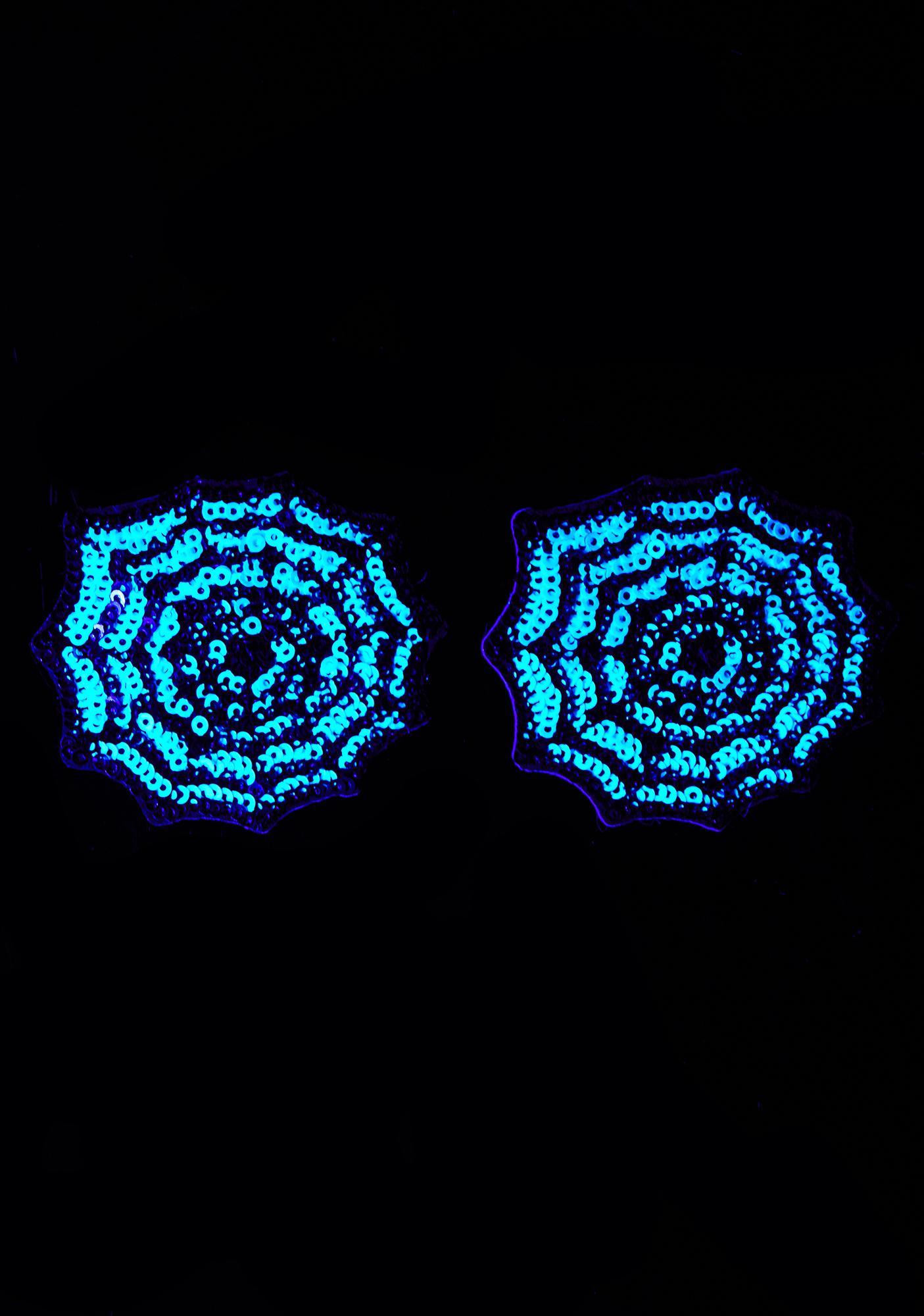 Neva Nude Sequin Spider Web UV Pasties