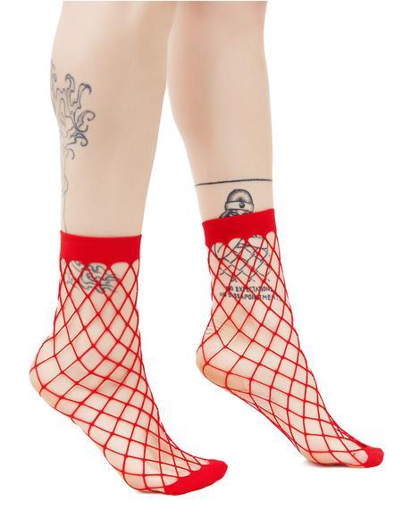 Fire Troublemaker Fishnet Socks