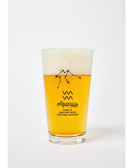 Aquarius Star Sign Pint Glass