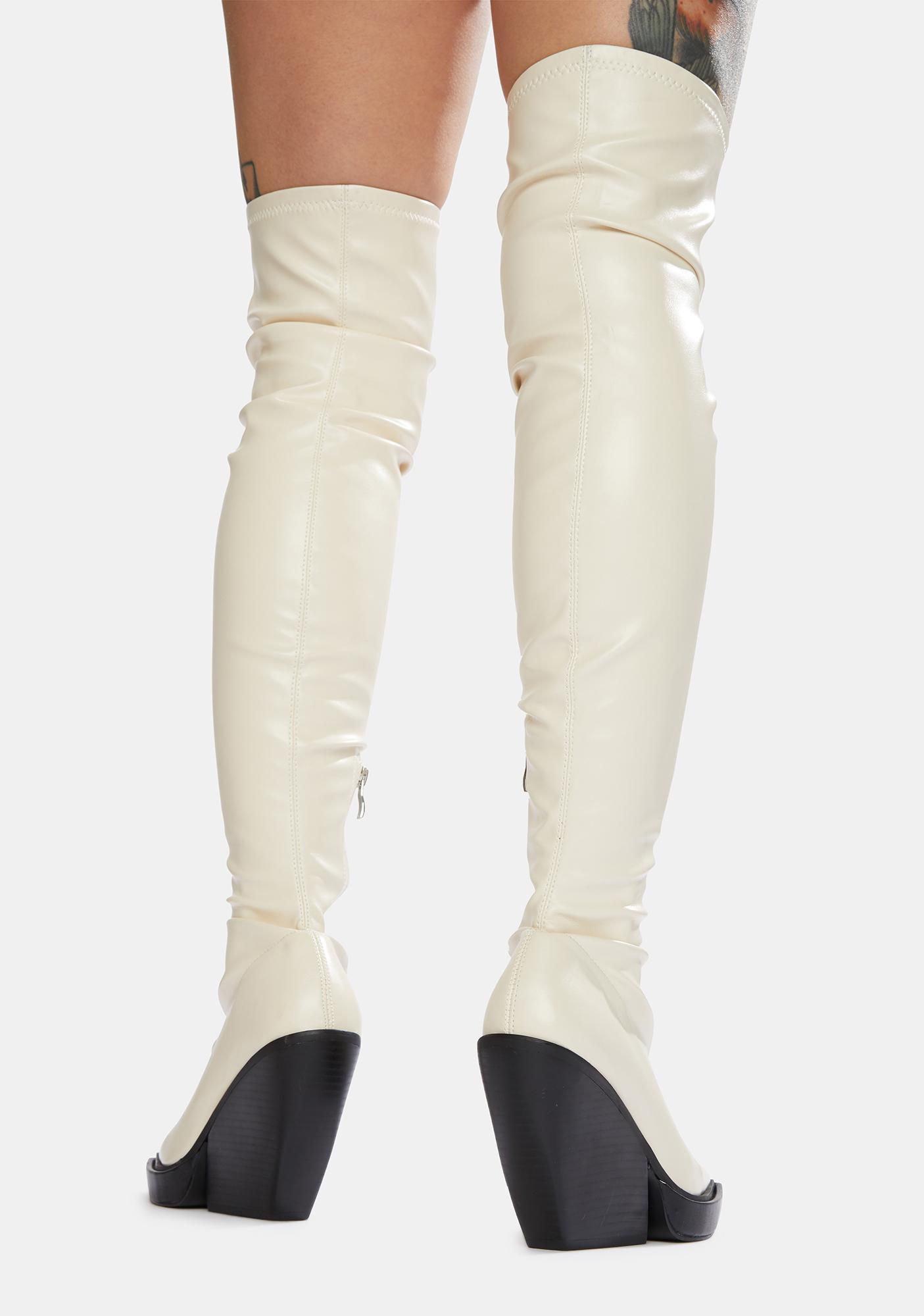 Public Desire Bone Nix Thigh High Platform Wedge Boots