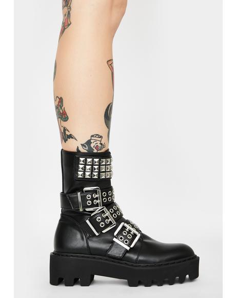 Scornful Sneer Buckle Boots