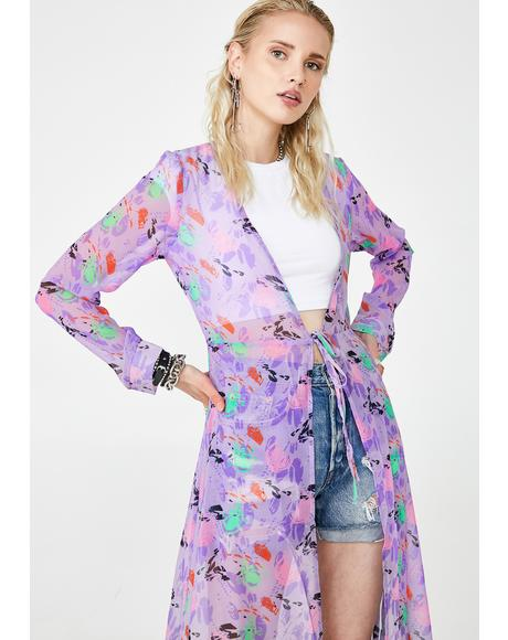 Lilac Fresh Picked Flowers Sheer Duster