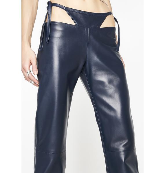 Maria ke Fisherman T Detail Leather Pants
