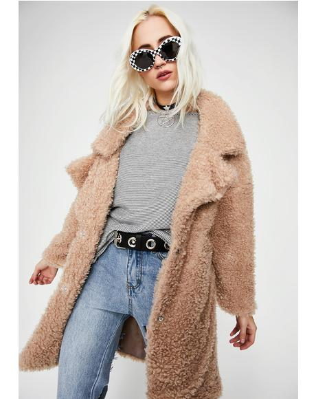 Nude Petty Yeti Fuzzy Coat