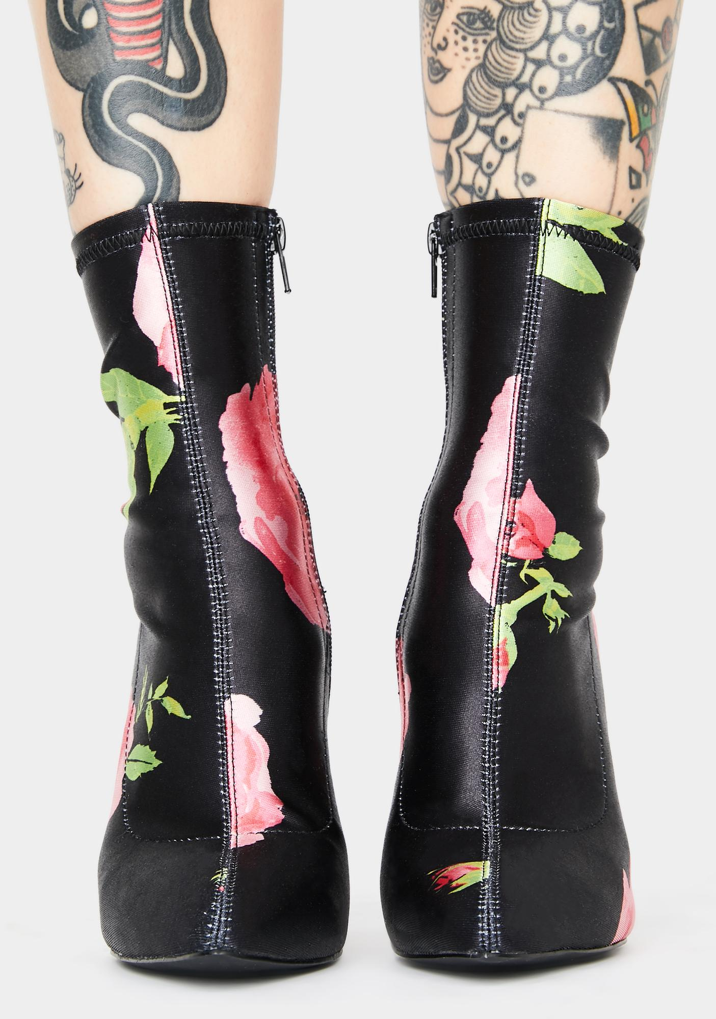 Current Mood Midnight Oasis Floral Booties