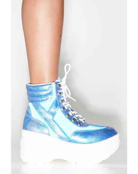 Matrixx Hi Blue Reflective Platform Sneakers