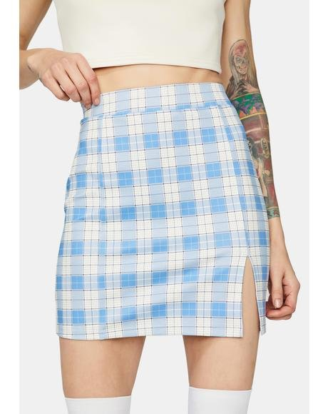 Powder Off The Record Gingham Mini Skirt