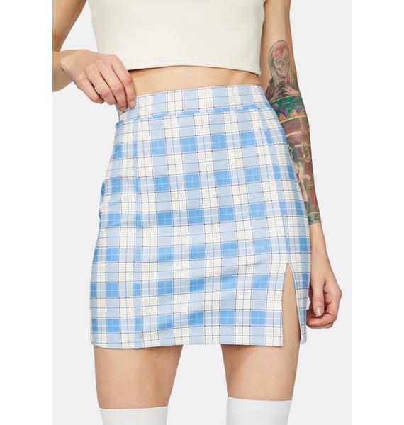 Powder Off The Record Gingham Mini Skirt