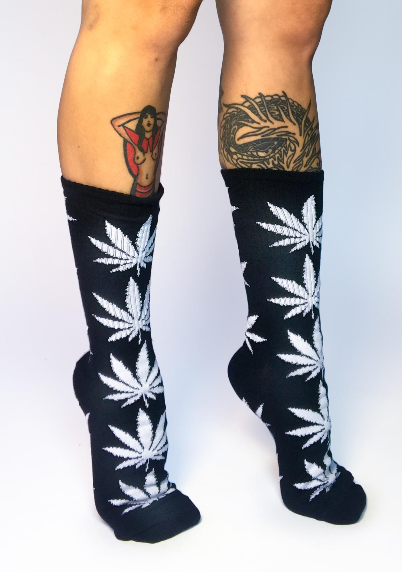 HUF Black Plantlife Crew Socks