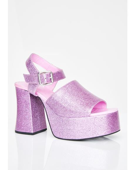 First-Class Flirt Glitter Platform Heels