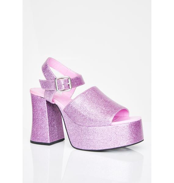 HOROSCOPEZ First-Class Flirt Glitter Platform Heels