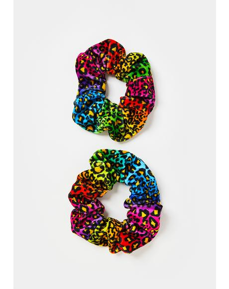 Feral Magic Leopard Rainbow Scrunchies