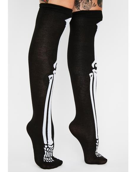 Skeleton Scare Thigh High Socks
