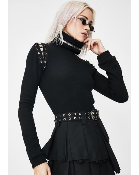 Vampire Collar Long Sleeve Top