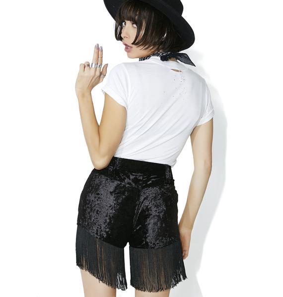 American Vintage Velvet Fringe Shorts