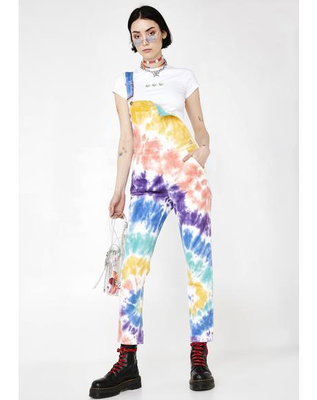 Trippy Delight Tie Dye Overalls