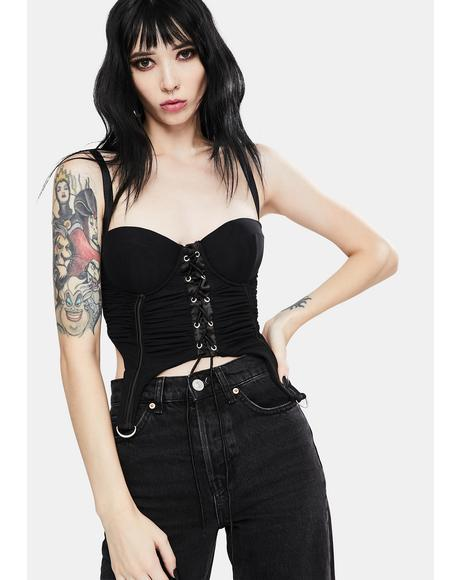 Black Satin Crop Bustier Tank