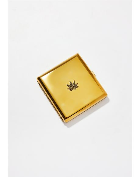 Gold Weed Leaf Embellished Joint Case