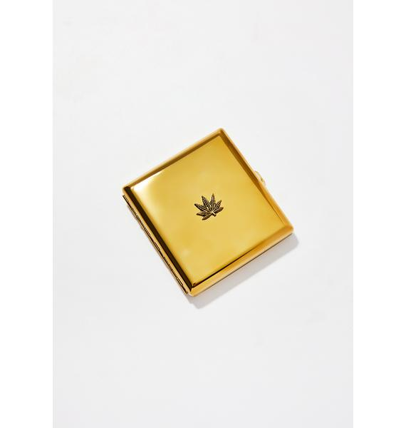 Blunted Objects Gold Weed Leaf Embellished Joint Case