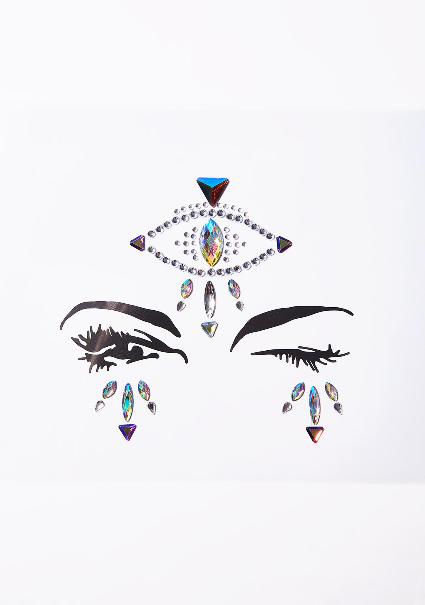SHRINE Silver Fortune Teller Eye Face Gems
