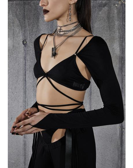 Snare Long Sleeve Wrap Bra Top