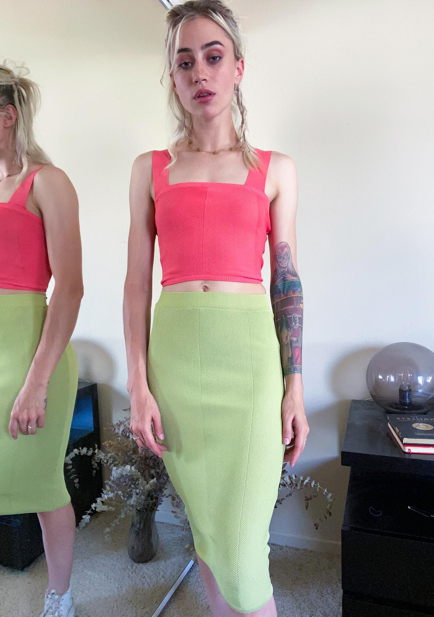 Mink Pink Watermelon Chevron Knit Crop Tank