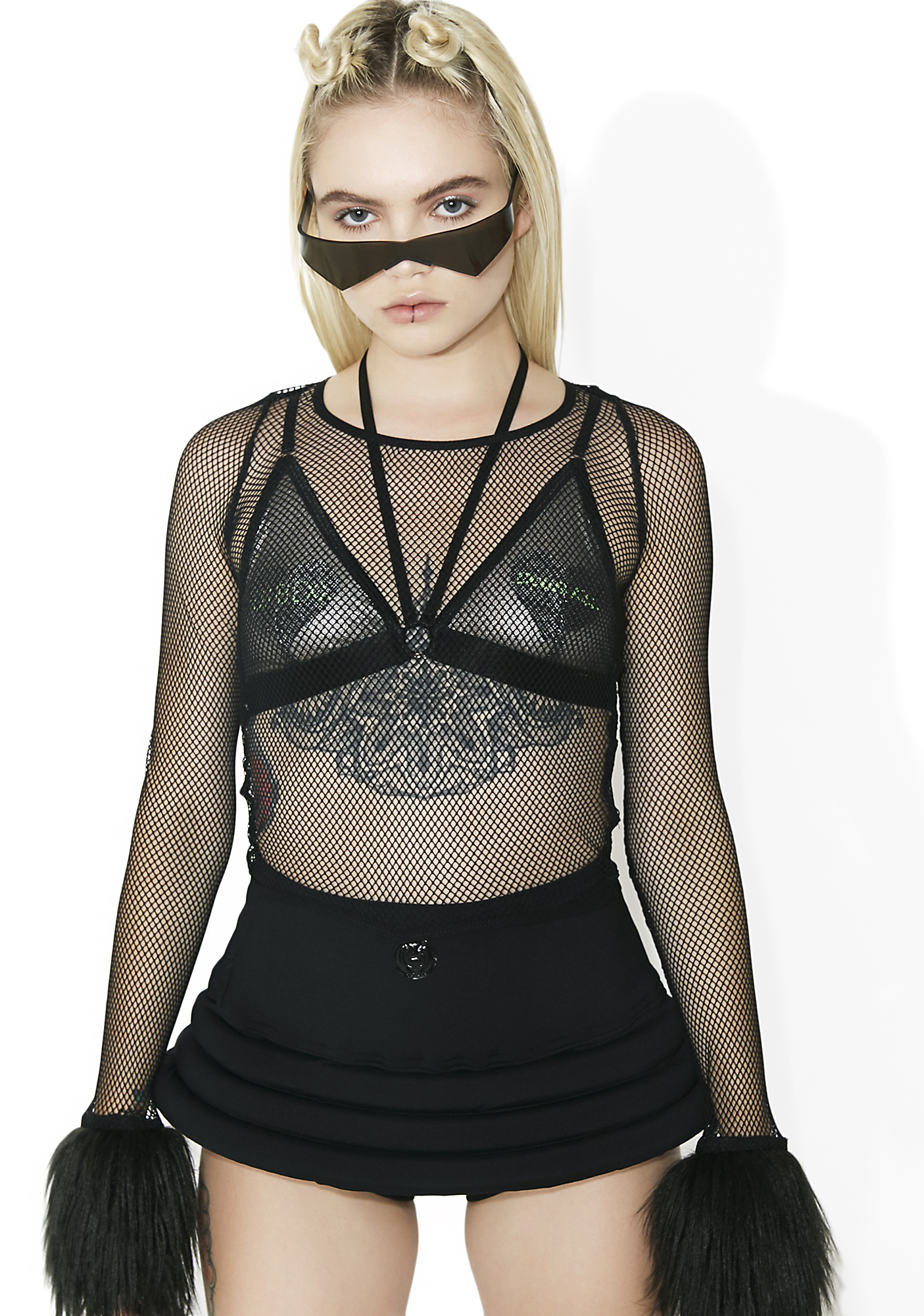 Club Exx Technokinetic Fuzzy Fishnet Top