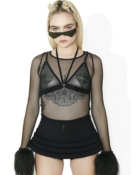 Technokinetic Fuzzy Fishnet Top