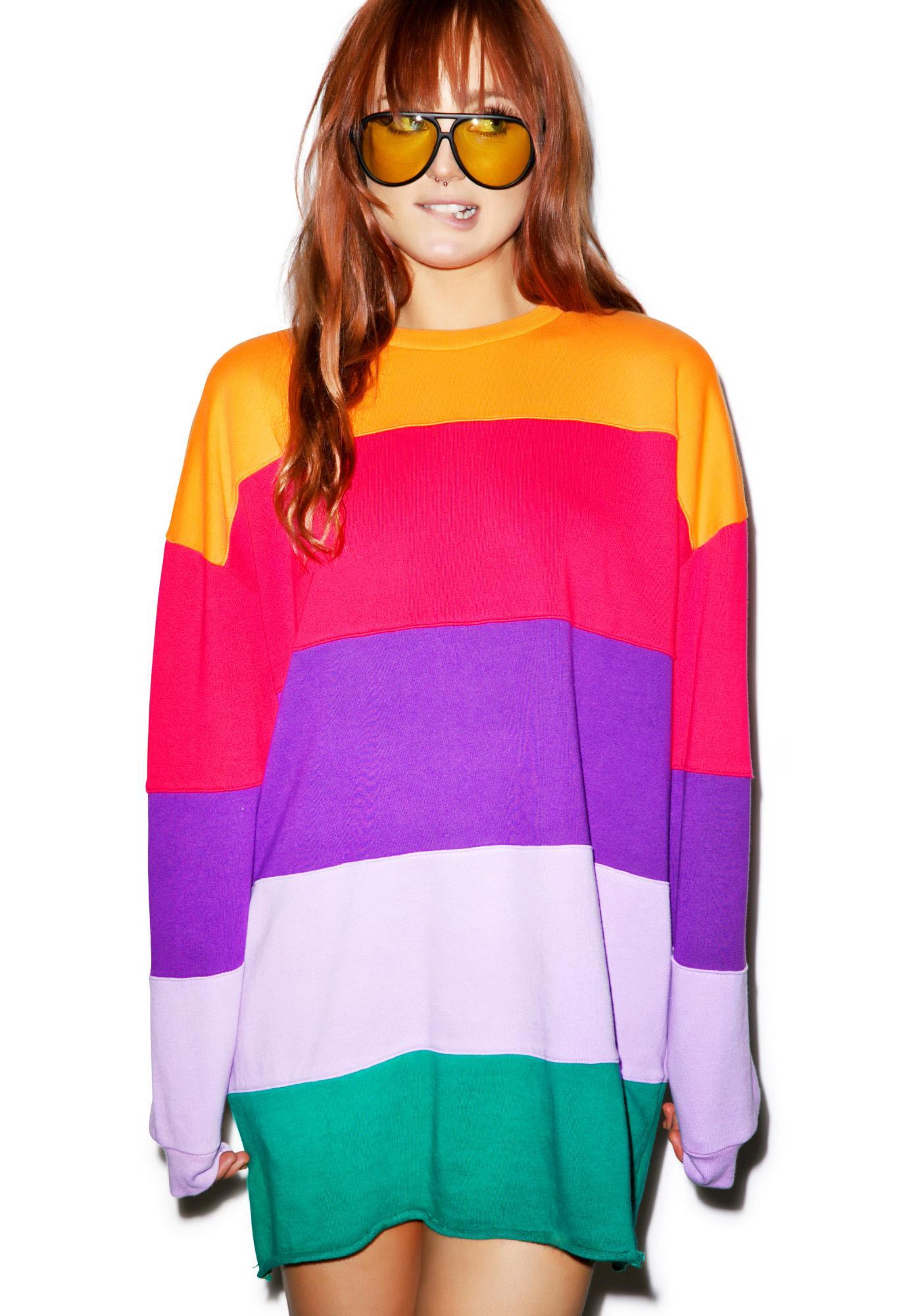 Lazy Oaf Rainbow Stripe Sweater Dolls Kill