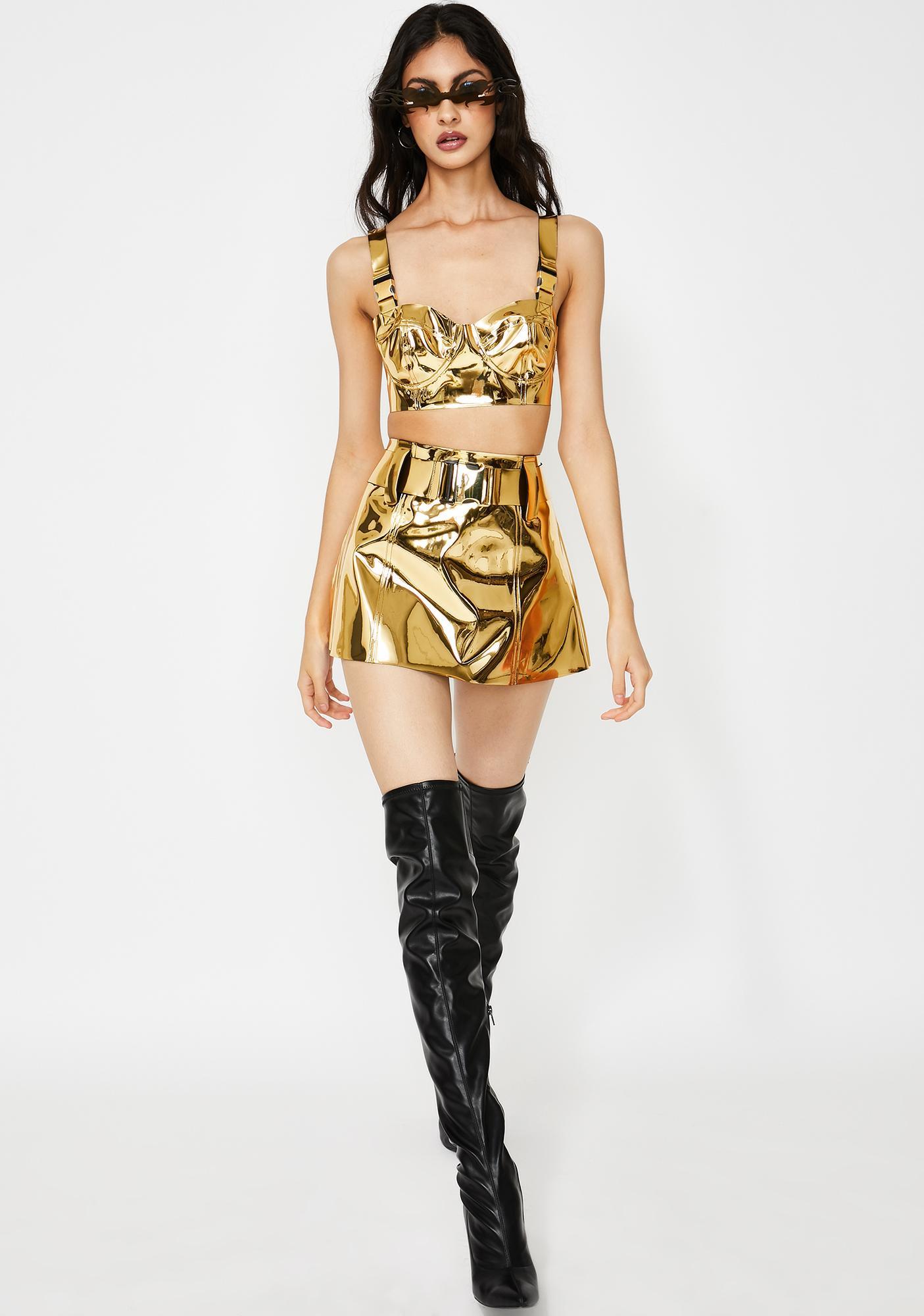 Club Exx Golden Runner Mini Skirt