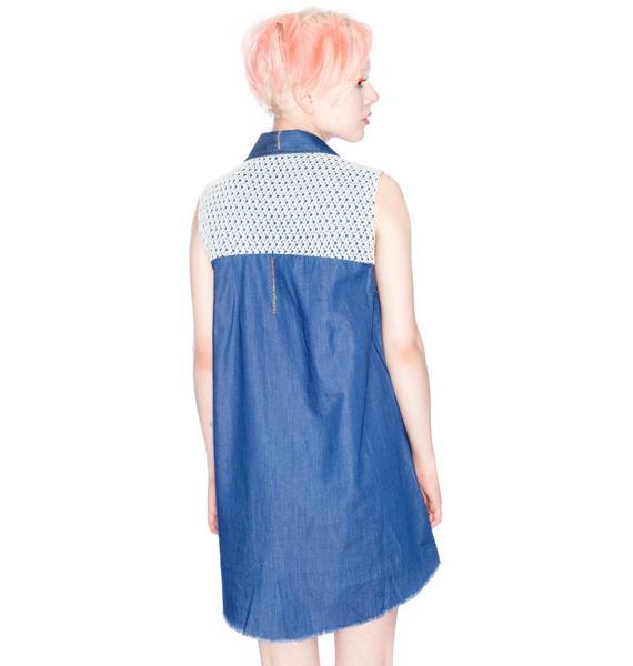 One Teaspoon Resist Chambray Crochet Dress