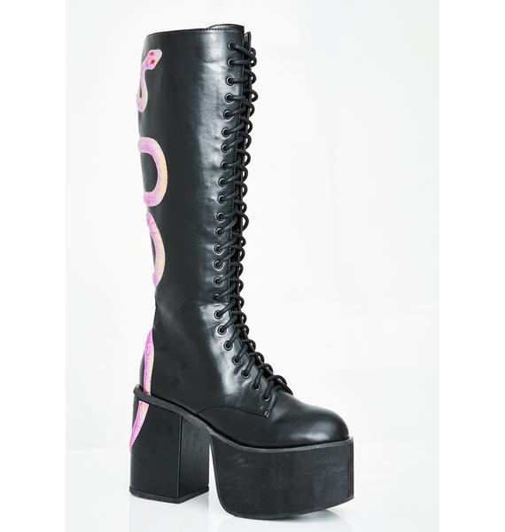 Club Exx Black Mamba Knee High Boots