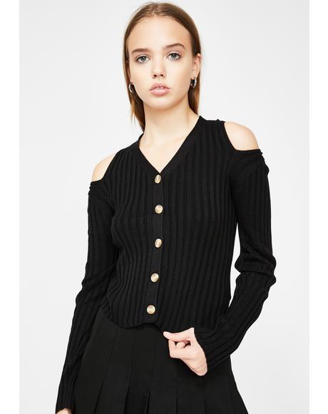 Cold Shoulder Knit Cardigan