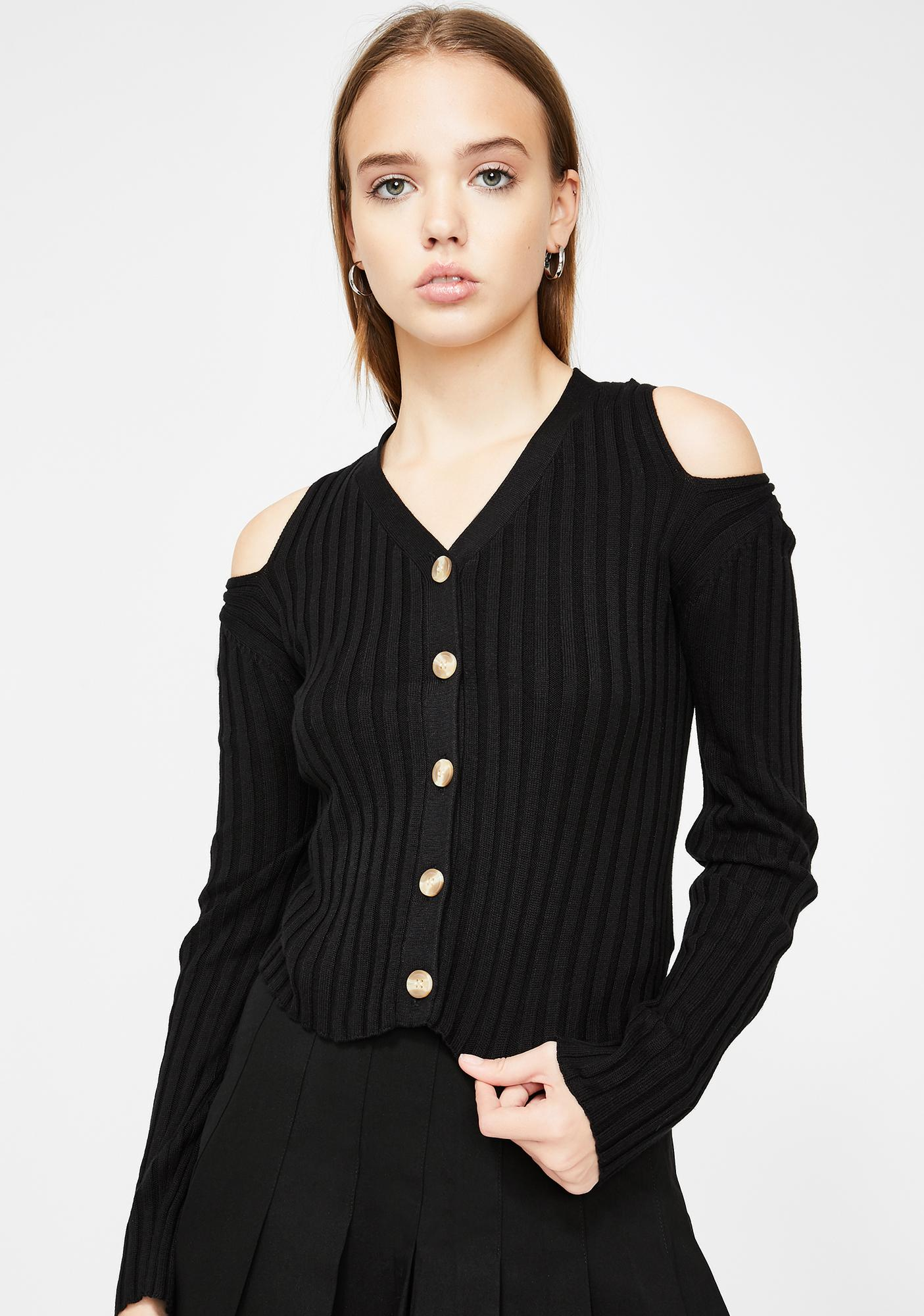 Glamorous Cold Shoulder Knit Cardigan