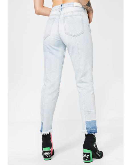 Super Light Wash Straight Crop Jeans