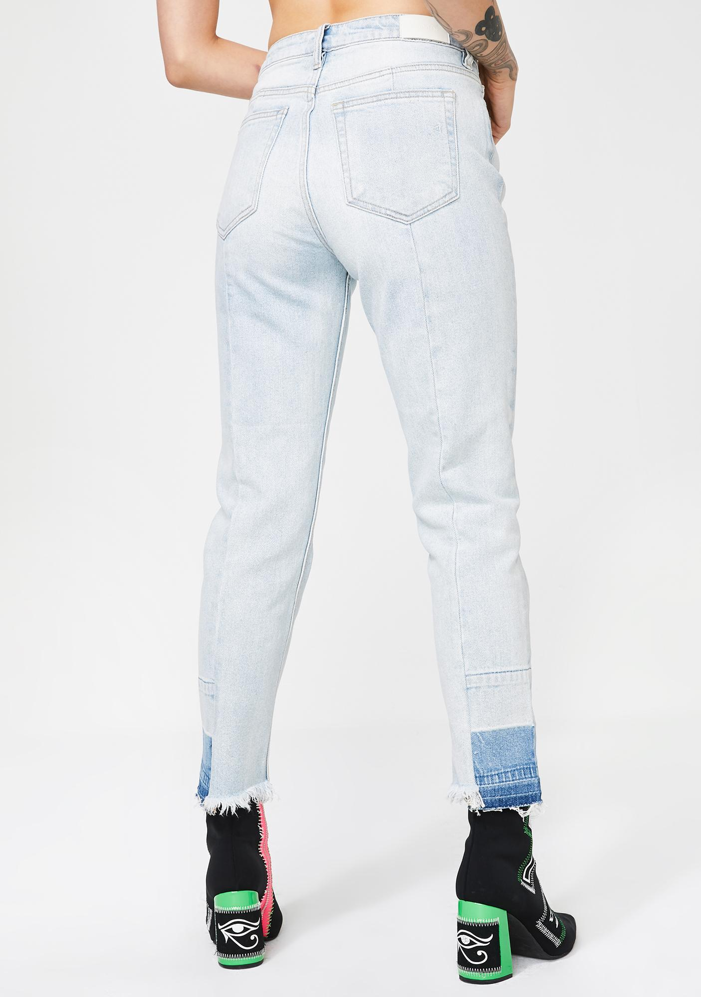 Hidden Denim Super Light Wash Straight Crop Jeans