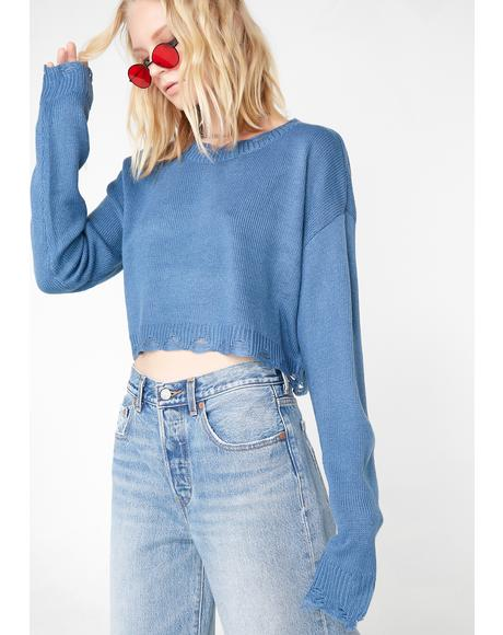 Sky So Fetch Cropped Sweater