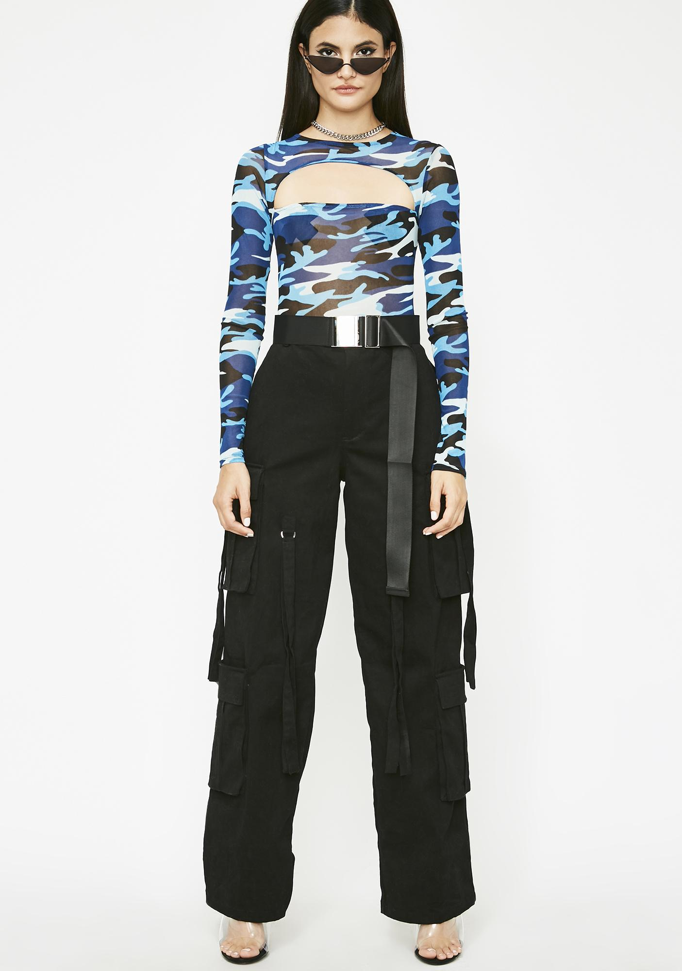 f558a87b5 Camo Sheer Cut Out Long Sleeve Bodysuit | Dolls Kill