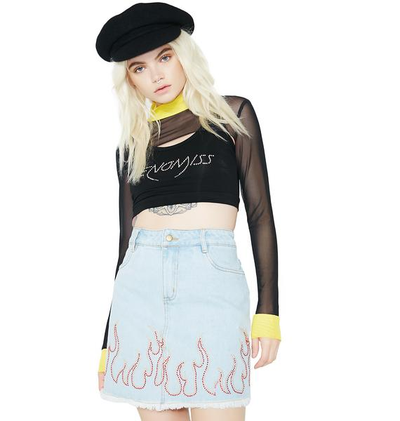 Wildfire Frayed Denim Skirt