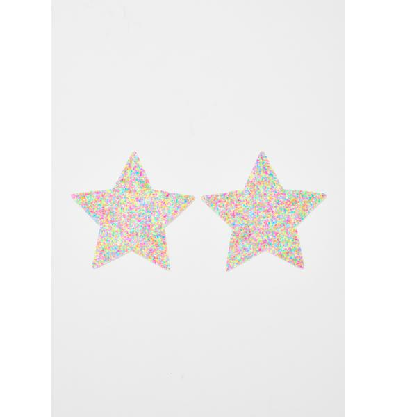 Neva Nude Blacklight Glitter Star Pasties
