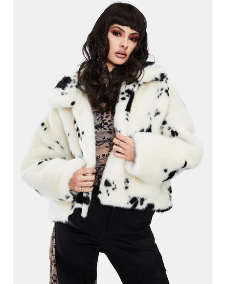 Cow Oversized Faux Fur Jacket
